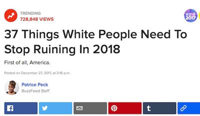 """Buzzfeed's """"37 Things White People Need to Stop Ruining in 2018"""" garnered nearly 730,000 views in less than 24 hours. (Image: Buzzfeed screenshot)"""