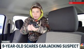 Larry Larimore, 9, used his pellet gun to scare off a carjacker trying to steal his dad's truck in Kokomo, Indiana, according to reports. (WTHR)