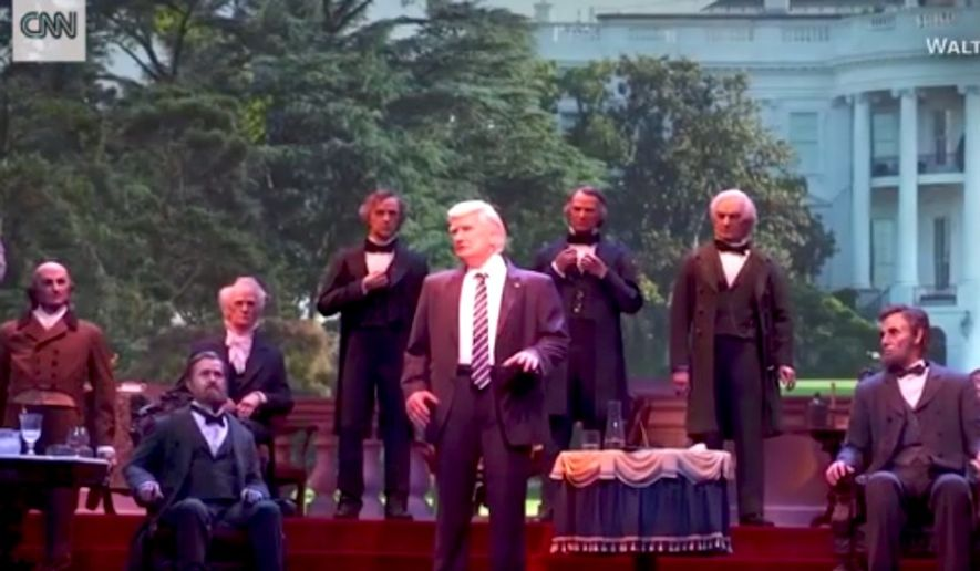 A activist derailed a December 2017 show at Disney World by screaming at an robotic likeness of President Trump. (Image: CNN) ** FILE **