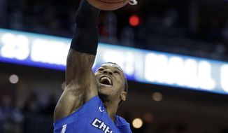 Creighton guard Marcus Foster (0) dunks against Seton Hall during the first half of an NCAA college basketball game, Thursday, Dec. 28, 2017, in Newark, N.J. (AP Photo/Julio Cortez)