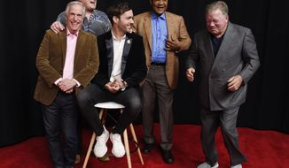 """In this Wednesday, Nov. 29, 2017, photo, from left, Henry Winkler, Terry Bradshaw, Jeff Dye, George Foreman and William Shatner, cast members in the NBC reality series """"Better Late Than Never,"""" laugh as they pose together for a portrait at NBCUniversal Studios in Universal City, Calif. Foreman, Bradshaw, Winkler and Shatner traipsed through Asia during the first season of """"Better Late Than Never"""" in 2016, and now the icons are taking on Europe in season two. The four icons reunite with comedian Jeff Dye for the NBC travelogue reality series premiering New Year's Day. (Photo by Chris Pizzello/Invision/AP)"""