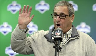 File-This March 1, 2017, file photo shows former Carolina Panthers general manager Dave Gettleman speaking during a press conference at the NFL Combine in Indianapolis. The New York Giants have hired Gettleman as their general manager. The Giants (2-13) announced the hiring of the 66-year-old Gettleman on Thursday, Dec. 28, 2017, and planned to introduce him at a news conference Friday. (AP Photo/Michael Conroy)