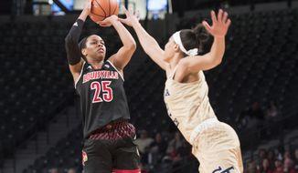 Louisville guard Asia Durr (25) shoots as Georgia Tech forward Breanna Brown defends during the first half of an NCAA college basketball game Thursday, Dec. 28, 2017, in Atlanta. (AP Photo/John Amis)