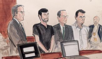 In this Dec. 17, 2015, file courtroom sketch, from left, defense attorney Baruch White, pharmaceutical entrepreneur Martin Shkreli, defense attorney Jonathan Sack and co-defendant Evan Greebel, appear in court in New York. Greebel, a lawyer accused of helping Shkreli cover up a financial fraud, was convicted of conspiracy charges Wednesday, Dec. 27, 2017, by a federal jury in the Brooklyn borough of New York. (Elizabeth Williams via AP, File)