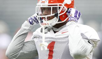 Clemson cornerback Trayvon Mullen warms up during practice for the upcoming Sugar Bowl NCAA college football game against Alabama, in New Orleans, Thursday, Dec. 28, 2017. (AP Photo/Tyler Kaufman)