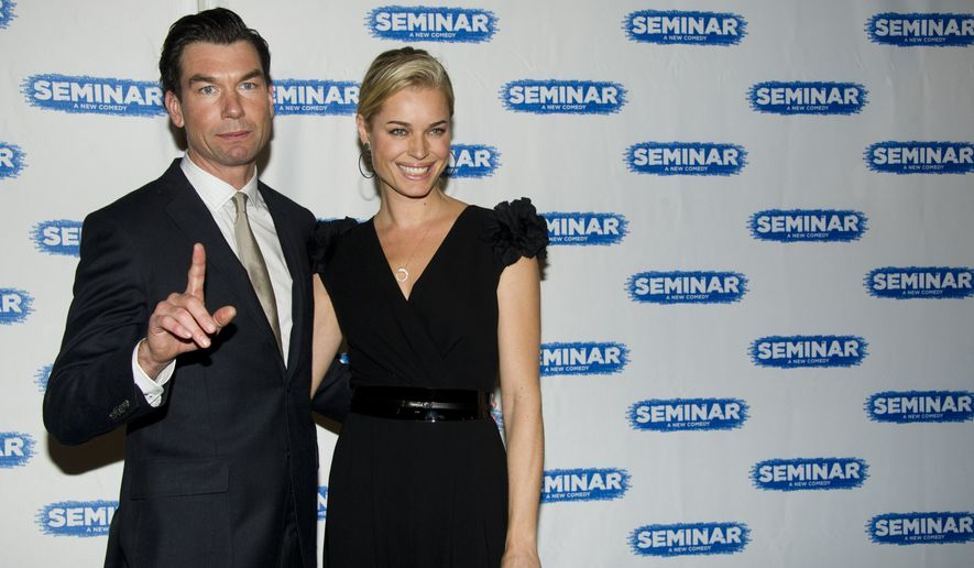 "Jerry O'Connell and Rebecca Romijn arrives for the opening night performance of the Broadway play ""Seminar"", in New York, Sunday, Nov. 20, 2011. (AP Photo/Charles Sykes)"