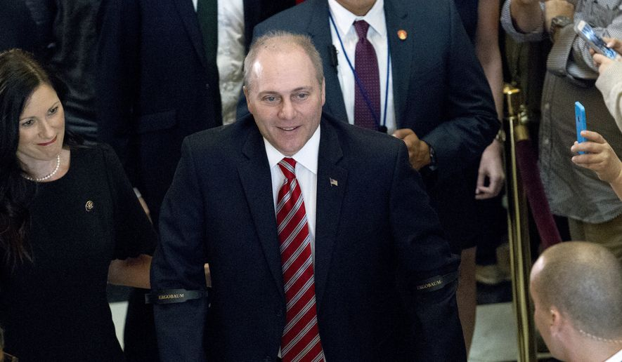 In this Sept. 28, 2017, file photo, House Republican Whip Steve Scalise walks with his wife Jennifer as he leaves the House chamber in the Capitol in Washington. To hugs and a roaring bipartisan standing ovation, Scalise returned to the House, more than three months after a baseball practice shooting left him fighting for his life. (AP Photo/Jose Luis Magana, File)