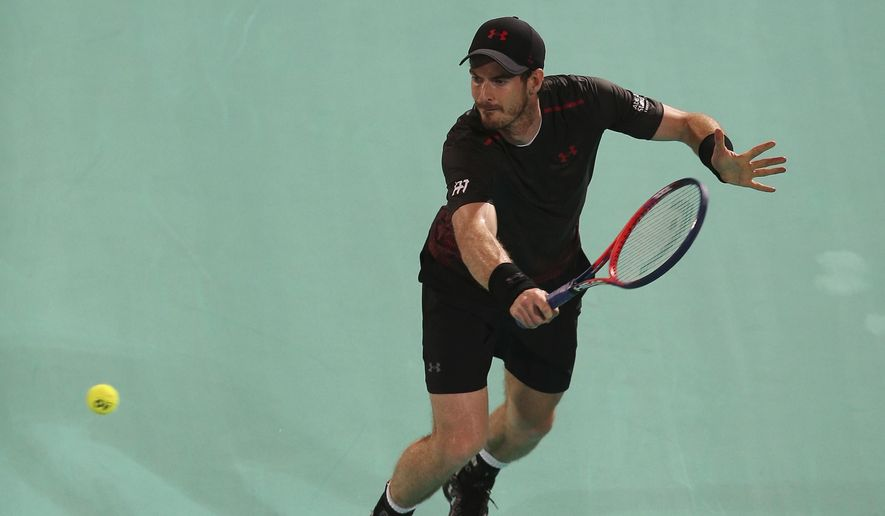 Great Britain's Andy Murray returns a ball to Spain's Roberto Bautista Agut during the second day of the Mubadala World Tennis Championship in Abu Dhabi, United Arab Emirates, Friday, Dec. 29, 2017. (AP Photo/Kamran Jebreili)