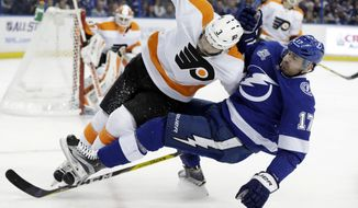Philadelphia Flyers defenseman Radko Gudas (3), of the Czech Republic, takes down Tampa Bay Lightning left wing Alex Killorn (17) with a check during the second period of an NHL hockey game Friday, Dec. 29, 2017, in Tampa, Fla. (AP Photo/Chris O'Meara)