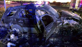 This photograph released on Wednesday, Dec. 27, 2017, by the Tucson Sector of the U.S. Border Patrol, shows an SUV that was damaged on Sunday, Dec. 24, 2017 in a high-speed chase near the small community of Amado in southern Arizona. The driver of the car faces numerous federal charges for allegedly firing a gun at Border Patrol agents and trying to strike their vehicles with his vehicle after they tried to stop him for an inspection of the SUV that carried two migrants as passengers. It was the most serious in a spate of migrant smuggling cases in southern Arizona and the only violent one over the long Christmas weekend. (Tucson Sector Border Patrol via AP)