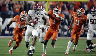 FILE - In this Jan. 11, 2016, file photo, Alabama's Derrick Henry runs for a touchdown during the first half against Clemson in the NCAA college football playoff championship game in Glendale, Ariz. No. 1 Clemson and No. 4 Alabama will meet in the College Football Playoffs for the third straight year when they square off in the Sugar Bowl. They split the first two meetings in down-to-the-wire national championship games. (AP Photo/Chris Carlson, File)
