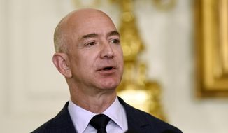 In this May 5, 2016, file photo, Jeff Bezos, the founder and CEO of Amazon.com, speaks in the State Dining Room of the White House in Washington. (AP Photo/Susan Walsh, File)