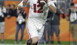 Wisconsin quarterback Alex Hornibrook (12) looks to pass, during the first half of the Orange Bowl NCAA college football game against Miami, Saturday, Dec. 30, 2017, in Miami Gardens, Fla. (AP Photo/Lynne Sladky)