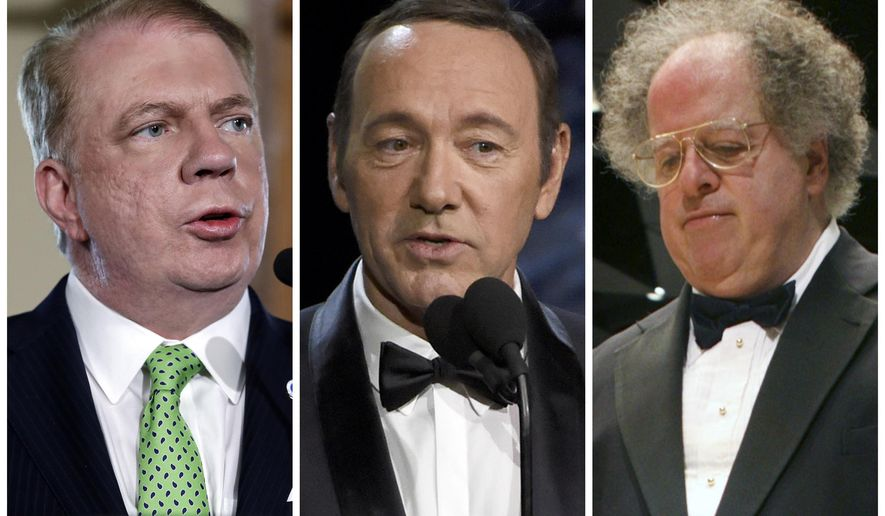 This combination of photos shows Seattle Mayor Ed Murray, actor Kevin Spacey, and orchestral conductor James Levine. Among the dozens of prominent Americans entangled in sexual-misconduct cases in 2017 are a modest number of men whose accusers are male. For some LGBT civic leaders, dismay over these cases is mixed with relief and even a trace of pride at how they were addressed. (AP Photo/Elaine Thompson, Chris Pizzello, Michael Dwyer)
