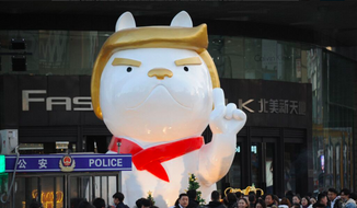 A decoration at The Festival Walk Mall in Taiyuan, China, depicting a dog, the animal for the new lunar year, with a hairdo reminiscent of that of U.S. President Donald Trump. The Lunar New Year falls on Feb. 16, 2018. (Twitter, The Peoples Daily)