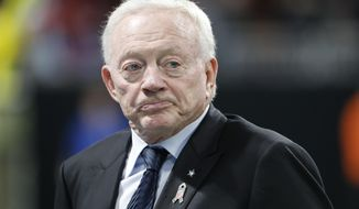 FILE - In this Nov. 12, 2017, file photo, Dallas Cowboys owner Jerry Jones walks the turf inside Mercedes-Benz stadium before the first half of an NFL football game in Atlanta. Contract talks for Roger Goodell, And Jerry Jones is mad as hell, Seething, threatening, on attack Over ban of his running back. (AP Photo/David Goldman) **File**