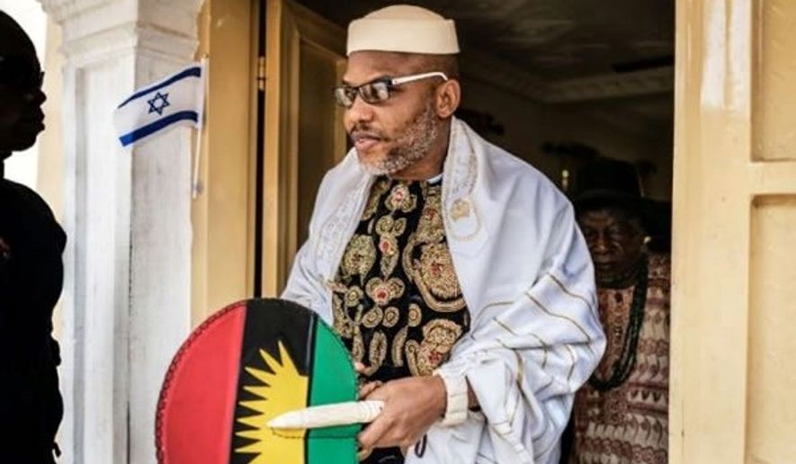 """""""After Anambra 2017, in 2019, there'll be no elections on Biafra land,"""" said Nnamdi Kanu, leader of the Indigenous Peoples of Biafra. (By Mahmud Isa/Special to The Washington Times)"""