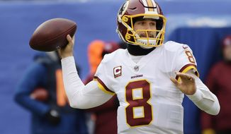 Washington Redskins quarterback Kirk Cousins (8) throws a pass during the first half of an NFL football game against the New York Giants, Sunday, Dec. 31, 2017, in East Rutherford, N.J. (AP Photo/Bill Kostroun)