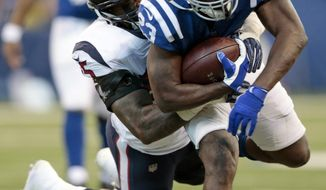 Indianapolis Colts' Frank Gore (23) is tackled by Houston Texans' Benardrick McKinney during the second half of an NFL football game, Sunday, Dec. 31, 2017, in Indianapolis. (AP Photo/AJ Mast)