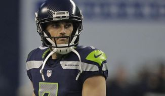 Seattle Seahawks kicker Blair Walsh reacts after he missed a field goal at the end of an NFL football game against the Arizona Cardinals, Sunday, Dec. 31, 2017, in Seattle. (AP Photo/Elaine Thompson)