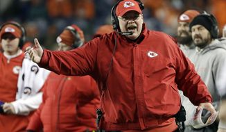 Kansas City Chiefs head coach Andy Reid argues a call during the second half of an NFL football game against the Denver Broncos, Sunday, Dec. 31, 2017, in Denver. (AP Photo/Joe Mahoney )