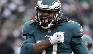 Philadelphia Eagles' Steven Means reacts after a tackle during the first half of an NFL football game against the Dallas Cowboys, Sunday, Dec. 31, 2017, in Philadelphia. (AP Photo/Chris Szagola)