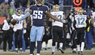 Tennessee Titans linebacker Jayon Brown (55) celebrates after recovering a fumble by Jacksonville Jaguars wide receiver Keelan Cole in the first half of an NFL football game Sunday, Dec. 31, 2017, in Nashville, Tenn. (AP Photo/James Kenney)