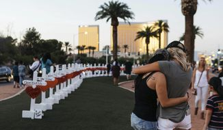In this Oct. 5, 2017, file photo, a memorial displaying 58 crosses by Greg Zanis stands at the Welcome To Las Vegas Sign in Las Vegas. Each cross has the name of a victim killed during the mass shooting at the Route 91 Harvest country music festival. Dozens of people were killed and hundreds were injured. (Mikayla Whitmore/Las Vegas Sun via AP, File)