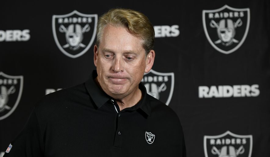 Oakland Raiders head coach Jack Del Rio reacts during a news conference after an NFL football game against the Los Angeles Chargers, Sunday, Dec. 31, 2017, in Carson, Calif. (AP Photo/Kelvin Kuo)