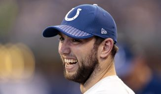 Indianapolis Colts quarterback Andrew Luck watches from the sideline during the second half of an NFL football game against the Houston Texans, Sunday, Dec. 31, 2017, in Indianapolis. (AP Photo/AJ Mast)