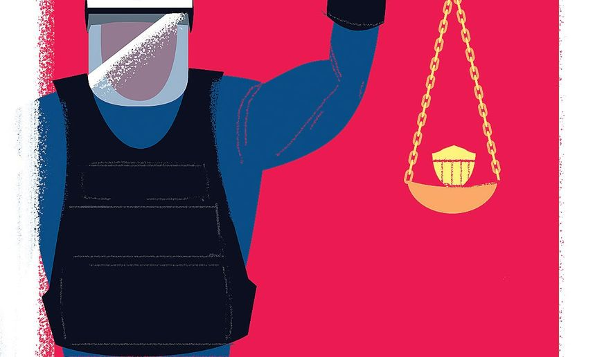 Illustration on qualified immunity by Linas Garsys/The Washington Times