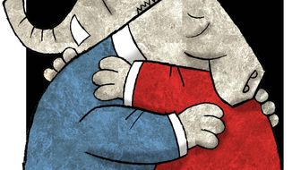 Illustration on reconciliation between Democrat and Republican by Alexander Hunter/The Washington Times