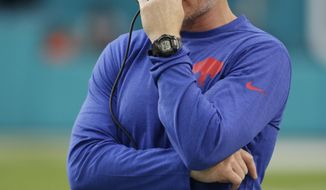 Buffalo Bills head coach Sean McDermott watches the team, during the first half of an NFL football game against the Miami Dolphins, Sunday, Dec. 31, 2017, in Miami Gardens, Fla. (AP Photo/Lynne Sladky)