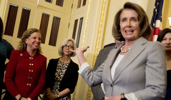 "House Minority Leader Nancy Pelosi of Calif., right, recognizes Rep. Debbie Wasserman Schultz, D-Fla., left, during a news conference on American labor on Capitol Hill in Washington, Wednesday, Nov. 1, 2017. Trump said on Twitter that the driver in Tuesday's attack ""came into our country through what is called the 'Diversity Visa Lottery Program,' a Chuck Schumer beauty""  a reference to the Senate's Democratic leader. (AP Photo/Andrew Harnik)"