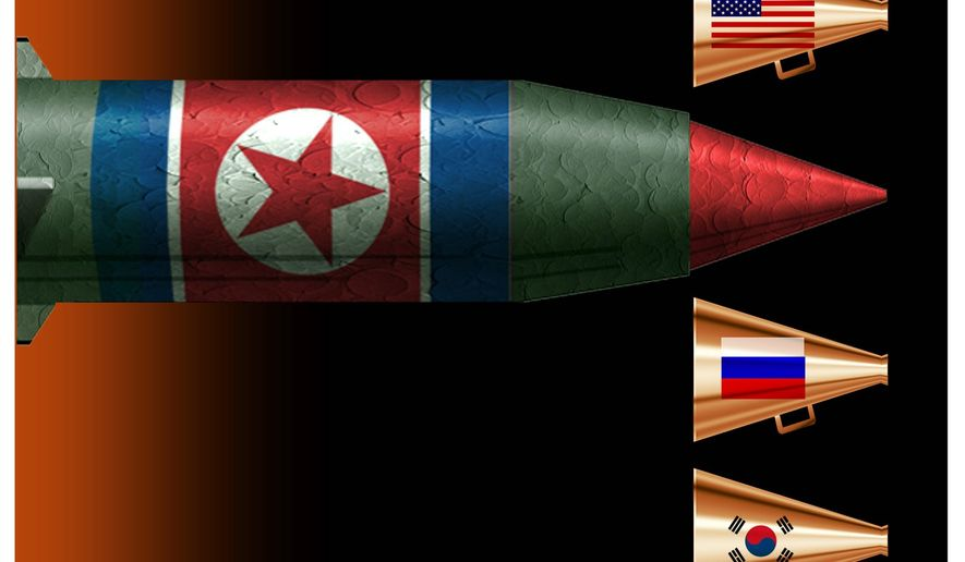 Illustration on the need to resume talks with North Korea by Alexander Hunter/The Washington Times