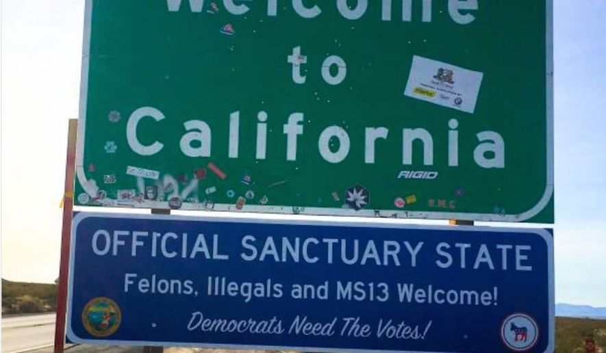 "Pranksters put up a sign along a California highway to spotlight the state's ""sanctuary state"" legislation, which went into effect Jan. 1, 2018. (Image: Twitter, Ted Hooley)"