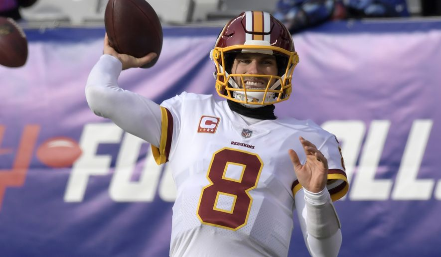 Washington Redskins quarterback Kirk Cousins (8) warms up before an NFL football game against the New York Giants Sunday, Dec. 31, 2017, in East Rutherford, N.J. (AP Photo/Bill Kostroun)