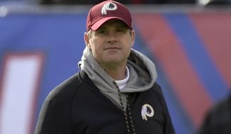 Washington Redskins coach Jay Gruden looks on before an NFL football game against the New York Giants Sunday, Dec. 31, 2017, in East Rutherford, N.J. (AP Photo/Bill Kostroun) **FILE**
