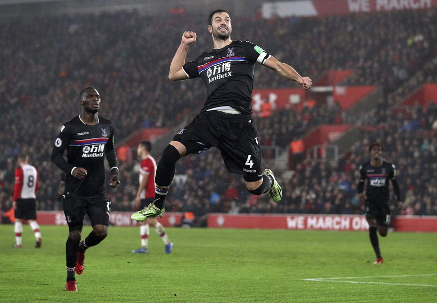 Crystal Palace's Luka Milivojevic celebrates scoring his side's second goal of the game against Southampton during their English Premier League soccer match at St Mary's Stadium in Southampton, Tuesday Jan. 2, 2018. (Andrew Matthews/PA via AP)