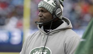 New York Jets head coach Todd Bowles watches from the sideline during the second half of an NFL football game against the New England Patriots, Sunday, Dec. 31, 2017, in Foxborough, Mass. (AP Photo/Steven Senne)