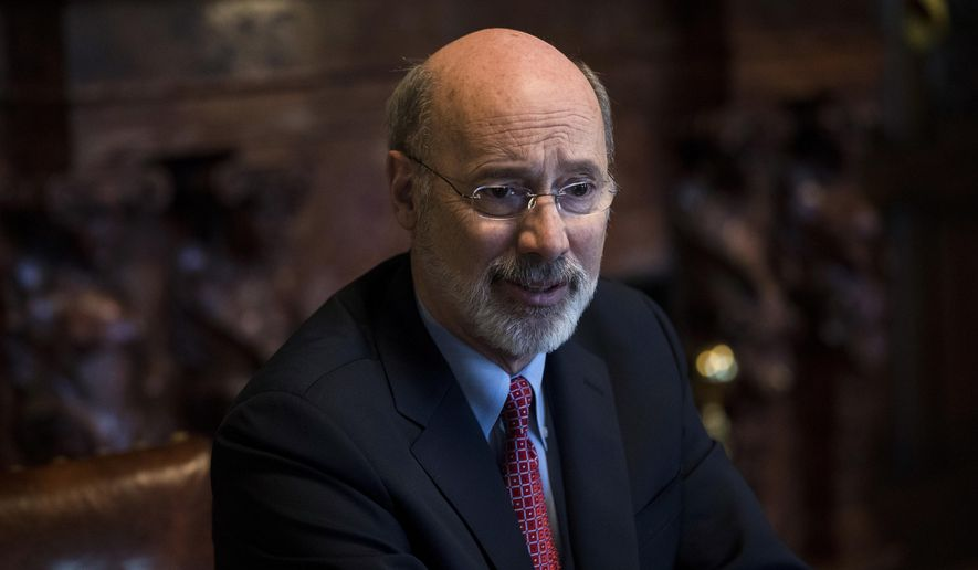 Pennsylvania Gov. Tom Wolf speaks during an interview with The Associated Press at his office in Harrisburg, Pa., Tuesday, Jan. 2, 2018. Pennsylvania state government agencies fielded over 300 reports of alleged sexual harassment over a recent five-year period, according to data released Tuesday. Wolf's administration provided the breakdown for agencies under his jurisdiction to AP in response to a Right-to-Know Law request. (AP Photo/Matt Rourke)