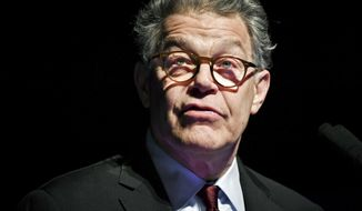 FILE - In this Dec. 28, 2017, file photo, outgoing U.S. Sen. Al Franken speaks about his accomplishments and thanks his team in Minneapolis, as his eight years in the Senate are set to come to an end soon. The Democrat's resignation was expected to be made official Tuesday, Jan. 2, 2018. It comes nearly a month after he announced his plans to leave Congress after a swirl of sexual misconduct allegations that began in November. (Glen Stubbe /Star Tribune via AP, File)