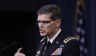 In this Aug. 30, 2016, file photo, U.S. Central Command Command Commander, Army Gen. Joseph Votel, speaks to reporters at the Pentagon. (AP Photo/Manuel Balce Ceneta, File)