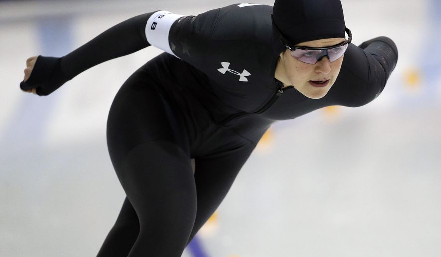 Carlijn Schoutens competes in the women's 3000-meter during the U.S. Olympic long track speedskating trials, Tuesday, Jan. 2, 2018, in Milwaukee. (AP Photo/John Locher)
