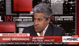 "MSNBC political analyst and author Anand Giridharadas weighed in on President Trump's tweet Tuesday evening mocking North Korean dictator Kim Jong-un, saying the president's ""profound sexual insecurity"" has the potential of ""literally"" annihilating our existence. (MSNBC)"