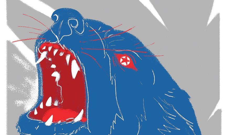 Illustration on China's background support of a belligerent North Korea by Linas Garsys/The Washington Times