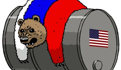 Illustration on U.S. energy development and its impact on Russia by Alexander Hunter/The Washington Times
