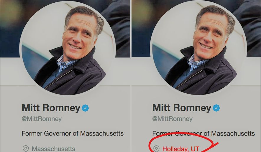Gov. Mitt Romney changed his location on Twitter to Utah just hours after Sen. Orrin Hatch announced his retirement. (Source: Twitter)