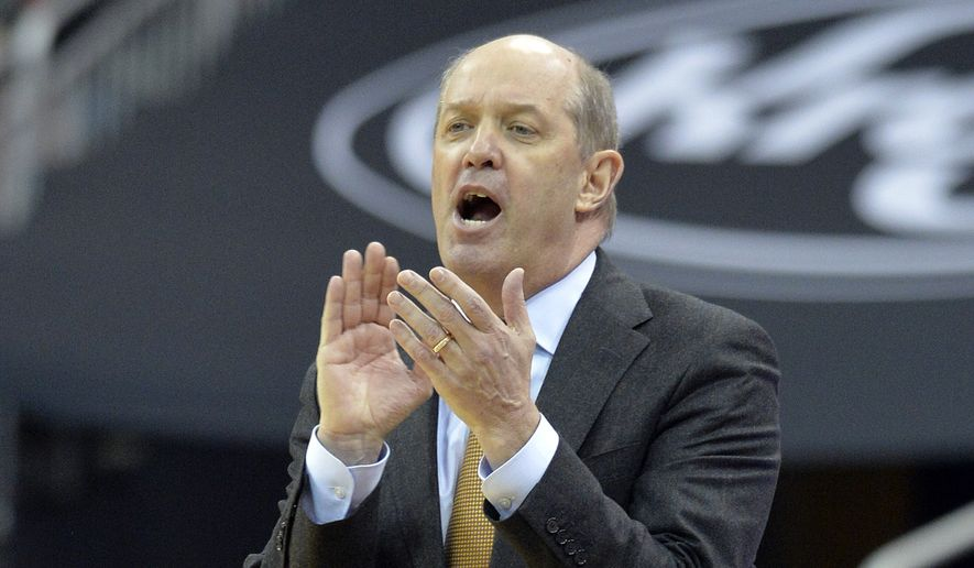 Pittsburgh coach Kevin Stallings shout instructions to his team during the second half of an NCAA college basketball game against Louisville, Tuesday, Jan. 2, 2018, in Louisville, Ky. Louisville won 77-51. (AP Photo/Timothy D. Easley)