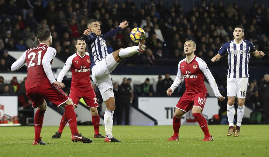 West Bromwich Albion's Jake Livermore controls the ball, during the English Premier League soccer match between West Bromwich Albion and Arsenal, at The Hawthorns, in West Bromwich, England, Sunday, Dec. 31, 2017. (Martin Rickett/PA via AP)